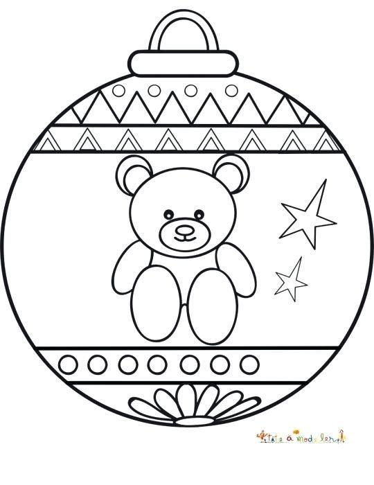 coloriage boules de noel boule nounours et motifs graphiques boule