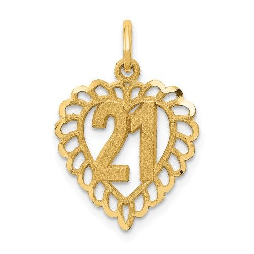 14K Yellow Gold Polished Block Style Number 21 Charm Pendant