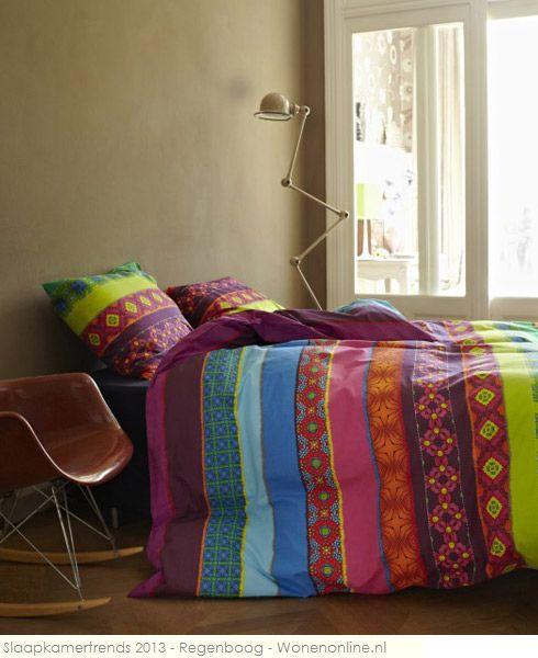Geef de slaapkamer een kleurboost met dit dekbed van Covers & Co.    http://www.wonenonline.nl/woontrends/woontrends-2013/slaapkamertrends-2013-regenboog.html#