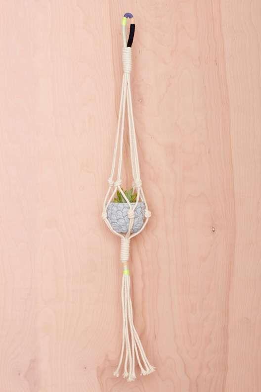 Cold Picnic Colorblock Rope Plant Hanger - Sale