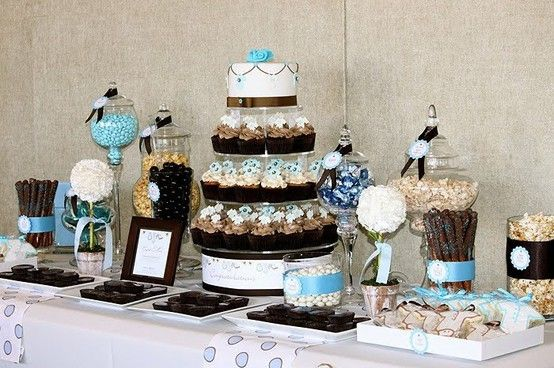 Dessert table #dessert #table #buffet #party #shower #wedding #blue #white #brown #flowers #cupcake #cake #chocolate #candy #apothecary #jars #glass #cookies #pretzels #popcorn #transfers