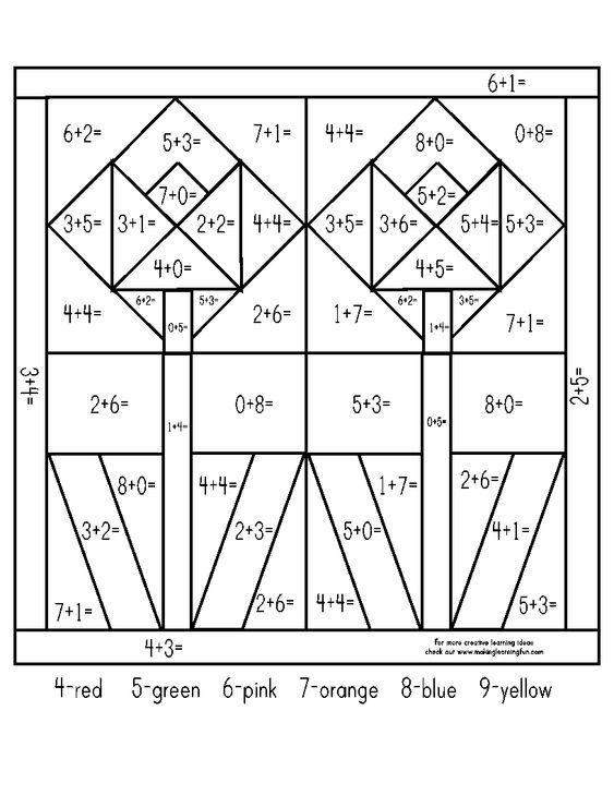 SPRING 1st2nd addition colorbynumber – Color by Number Addition Worksheet
