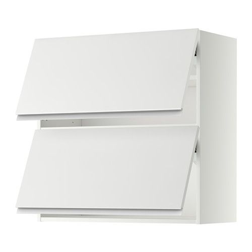 METOD Wall cabinet horizontal w 2 doors - white, Nodsta white/aluminium, 80x80 cm - IKEA