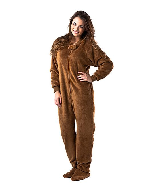 Take a look at this Brown Teddy Bear Chenille Footed Pajamas ...