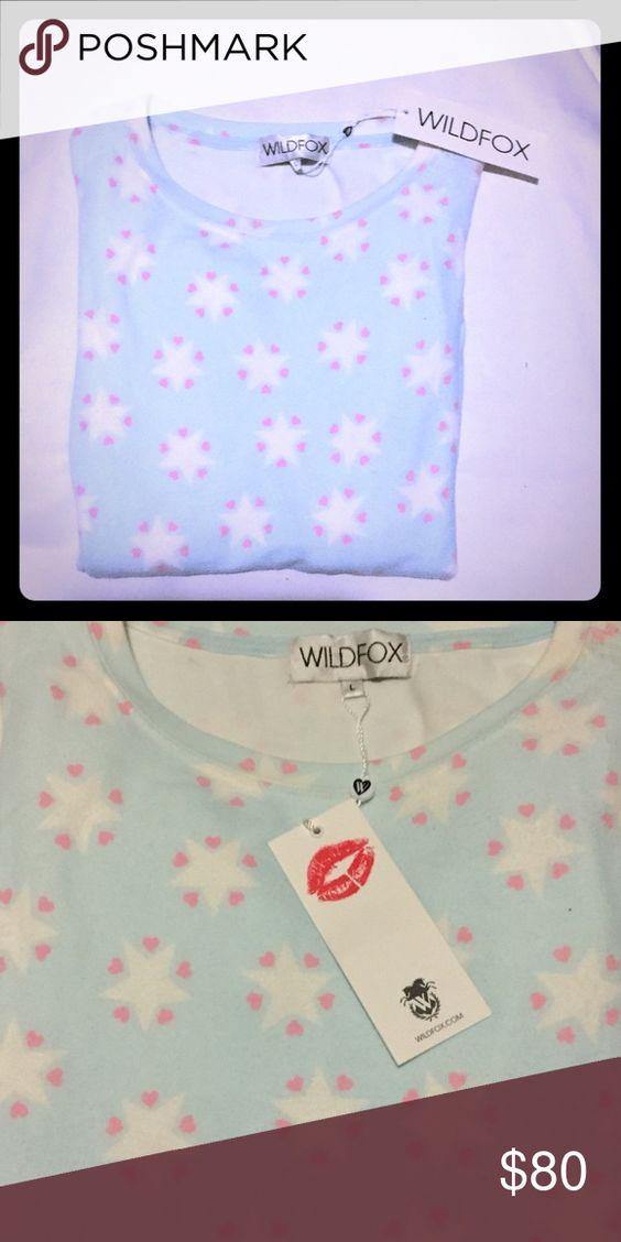 WILDFOX STARS pastel jumper Pastel blue stars WF jumper.  Loose baggy fit OSFM. Wildfox Tops Sweatshirts & Hoodies