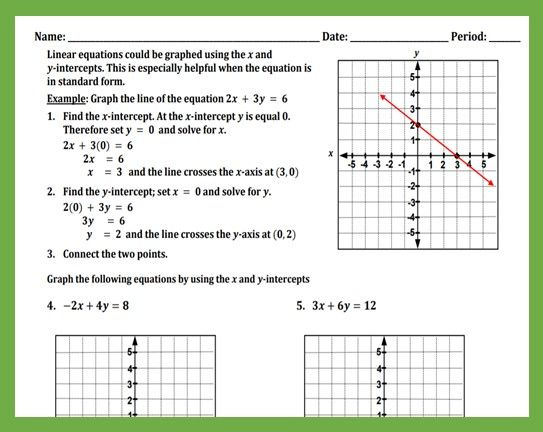 Graphing Equations By Finding Intercepts - Teaching The Lesson Graphing  Quadratics, Basic Algebra Worksheets, Graphing Linear Equations