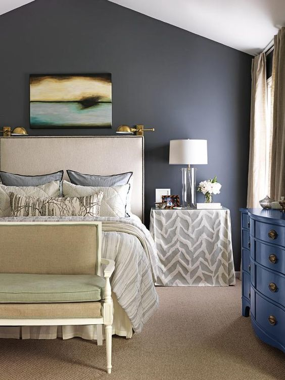 Master Bedroom - Our First Grown-Up House on HGTVnightstands by having skirts sewn (a zebra fabric by Kravet) to fit over IKEA Expedit bookcases, then topped each with a piece of glass.