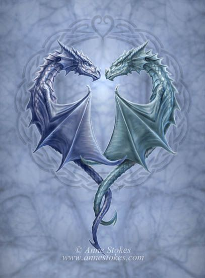 Blue and Silver Dragons ~ Anne Stokes