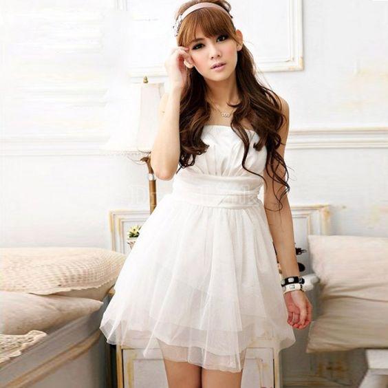 Women's Strapless Bridesmaid Satin Splicing Net Yarn Mini Dress 3 Colors