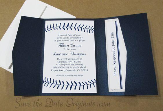Baseball Wedding Invitation: Baseball Pocketfold Wedding Invitation #sports