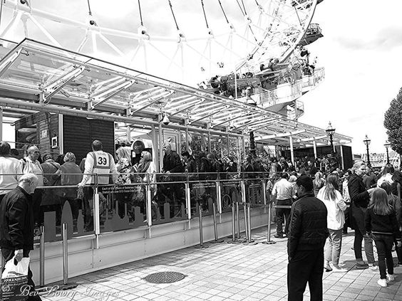 Queuing for a ride on the London Eye