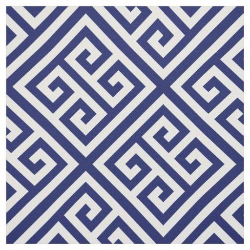 Navy Blue White Med Greek Key Diag T Pattern 1 Fabric Greek