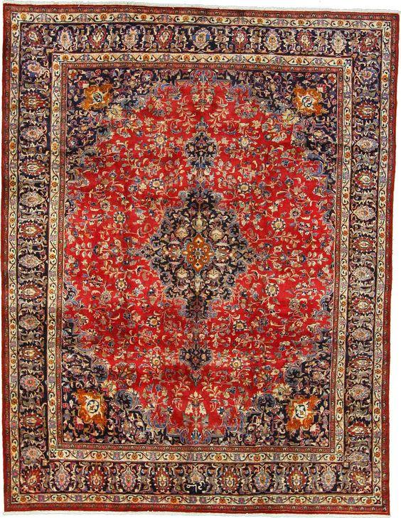 Red 9' 8 x 12' 5 Mashad Rug   Persian Rugs   eSaleRugs