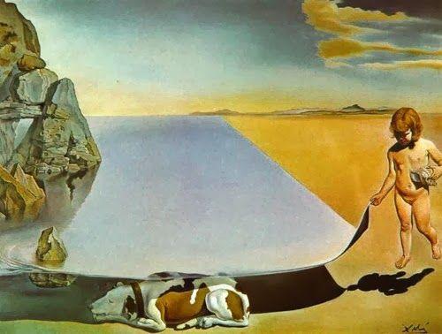 Dalí a la edad de 6 años, cuando creía que era una niña, levantando la piel del agua para ver un perro dormido a la sombra del mar (1950)