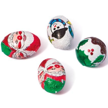 Real milk chocolate mini Santa's, Puddings and Snowmen wrapped in a festive foil for Christmas.