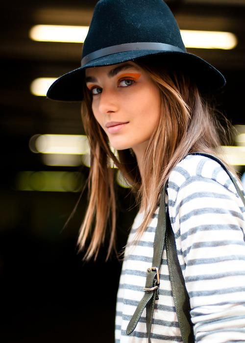 : Andreea Diaconu, Hats Stripes, Hairstyle, Orange Eye, Hair Color, Accessories Hats
