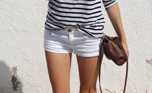 white denim shorties