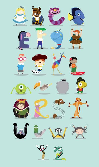 Cartoon Characters 7 Letters : Alphabet disney and on pinterest