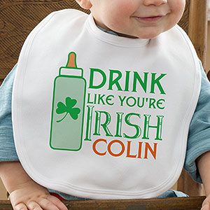 "OMG this is sooo cute and funny! Great baby gift idea for an Irish baby! Every Irish Baby needs to wear this for St. Patrick's Day! It says ""Drink Like You're Irish"" and you can personalize it with ANY baby name! It's only $12.95 at PersonalizationMall! #Irish #StPatricksDay"