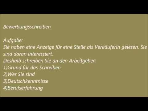 Deutsche Brief A1-A2-B1 Prüfung - 9 - Bewerbung Schreiben