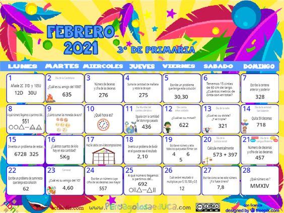 Calendario Tercero ABN – Febrero 2021