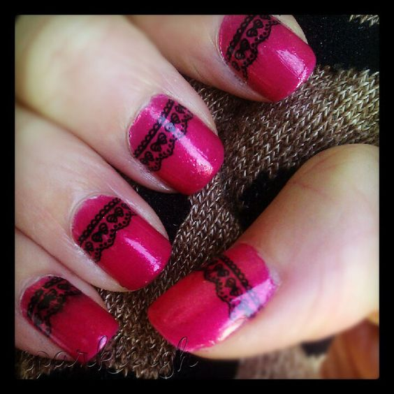 Hot Pink Glitter + Bow Lace Trim