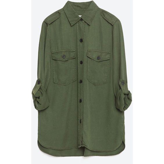 Zara Military Style Shirt ($50) ❤ liked on Polyvore featuring tops, shirts, khaki, green shirt, military shirts, zara top, green top and shirts & tops