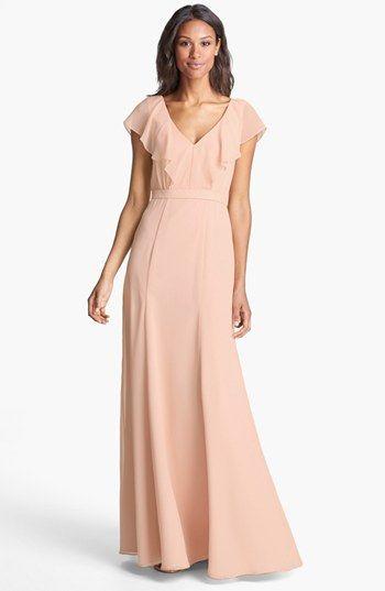 Cecilia' Ruffled V-Neck Chiffon Long Dress (Online Only) | Mom ...