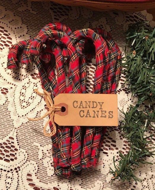 12 Primitive BURGUNDY HOMESPUN Fabric Candy Canes Christmas Farmhouse Ornaments