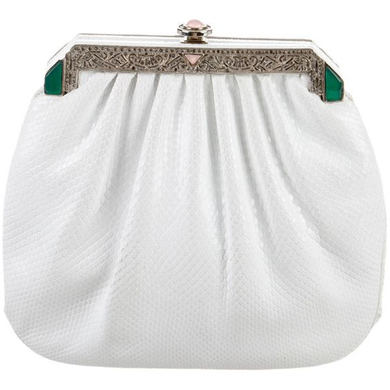 Pre-owned Judith Leiber Karung Evening Bag (£155) ❤ liked on Polyvore featuring bags, handbags, white, preowned handbags, white purse, judith leiber purses, evening hand bags and chain handle handbags