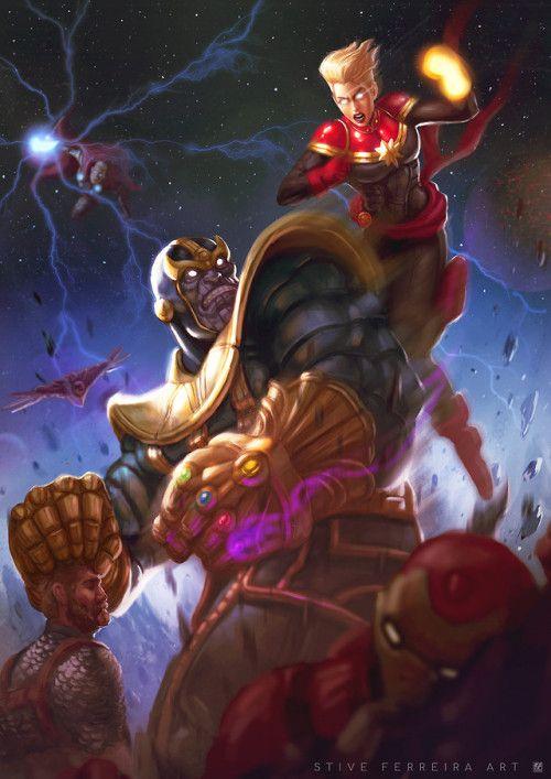 Captain Marvel Vs Thanos Stive Ferreira Marvel Artwork Marvel