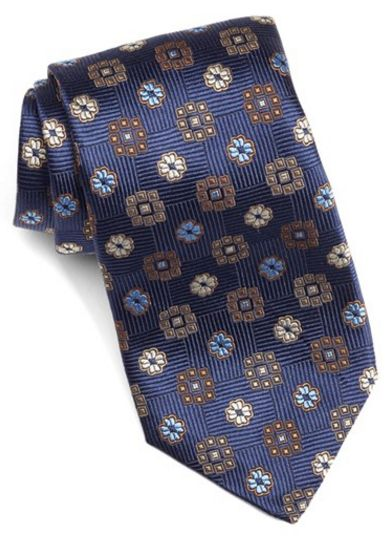 David Donahue medallion silk tie