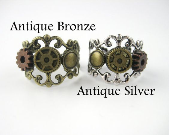 Steampunk Jewelry Steampunk Ring Women Cogs by SpotLightJewelry