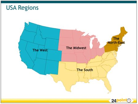 The Four Sections Of The United States Homeschool Geography - Us map of north eastern states