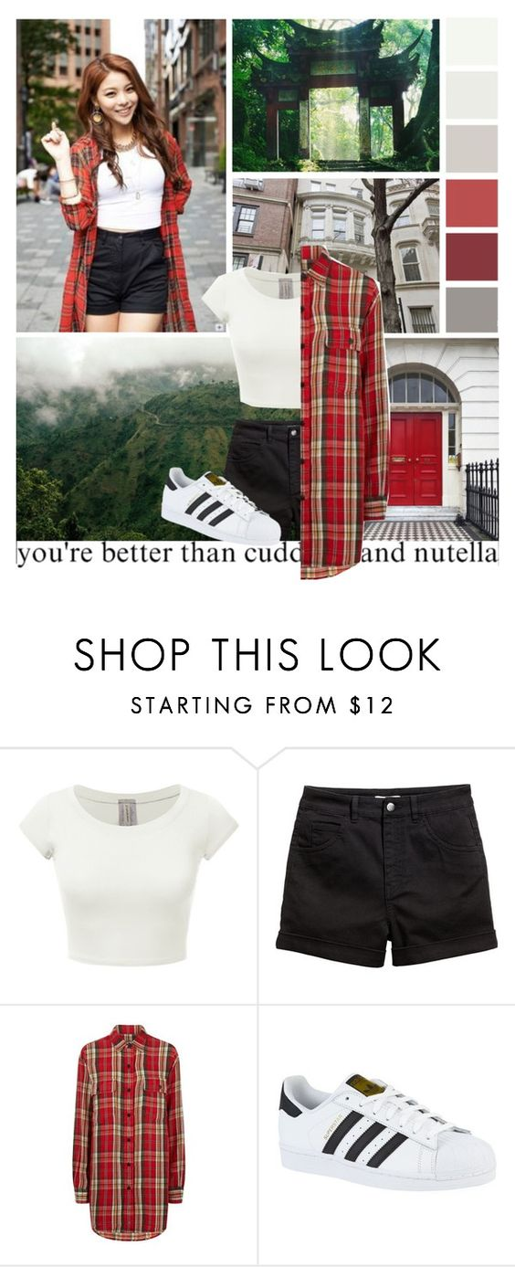 """""""023; ailee"""" by seoulstyle ❤ liked on Polyvore featuring H&M, Denim & Supply by Ralph Lauren and adidas"""