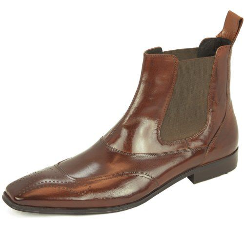 Natazzi Italian Leather Shoes Mens Chelsea Dress Boot Mod Bari-Boot L-3020 Brown