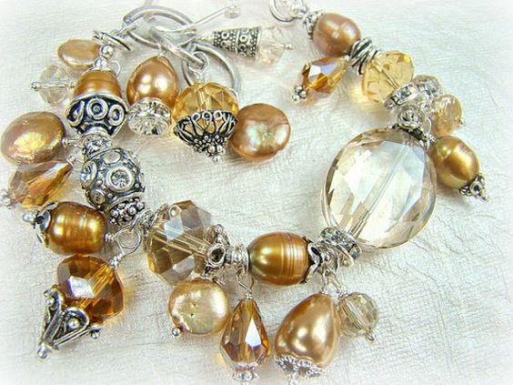 Crystal freshwater pearl beaded charm bracelet by strandsofgrace,
