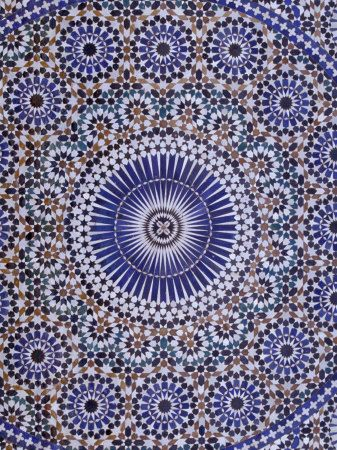 Zellij (Geometric Mosaic Tilework) Adorn Walls, Morocco by John & Lisa Merrill. Photographic print from Art.com.