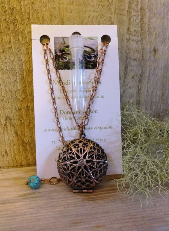 Essential Oil Diffuser Necklace with Gemstone by Maidinthewoods, $25.00