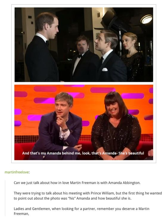 Could Martin Freeman and Amanda Abbington be any more adorable a couple? I am just not gonna be able to take them together in Sherlock Series 3--I see them beside each other in a promo and I already flip out. :)