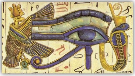 The Eye of Ra, a disembodied Eye signifying the Third Eye of illumination.:
