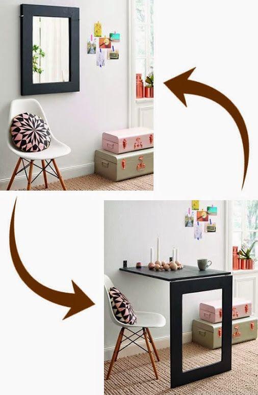 Uno specchio che si trasforma in tavolo, ideale per piccoli appartamenti - Table and mirror #diy