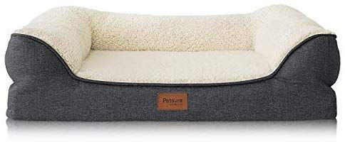 Amazon Com Petsure Orthopedic Pet Sofa Beds For Small Medium Large Dogs Cats 36 X27 X7 Large Dog Beds Grey Memory Foam C