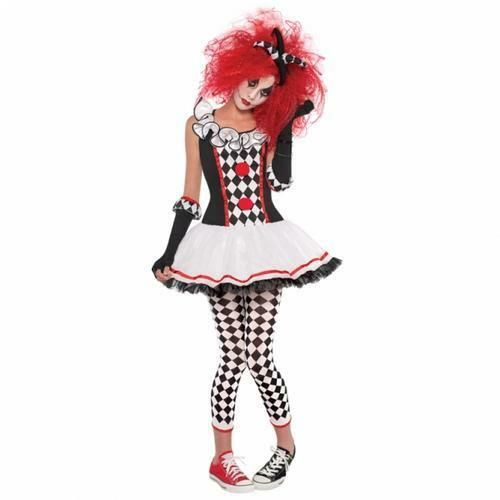 Nouveau Harlequin Jester Femmes Effrayant Clown Horreur Déguisement Halloween Costume