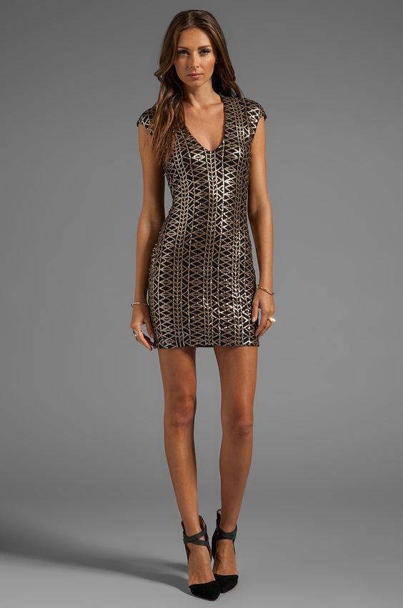 Dolce Vita Dionna Tribal Sequins Dress in Black/Gold
