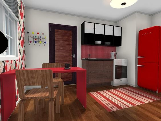 3d floor plan for a kitchen area in a studio apartment for Studio apartment area