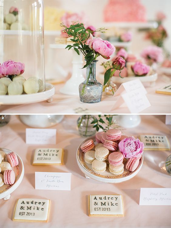 Pretty pink wedding edibles.  http://www.brosnanphotographic.com/