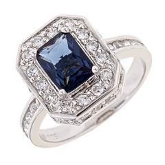 Designer Sapphire Legacy CZ Ring Emerald Cut