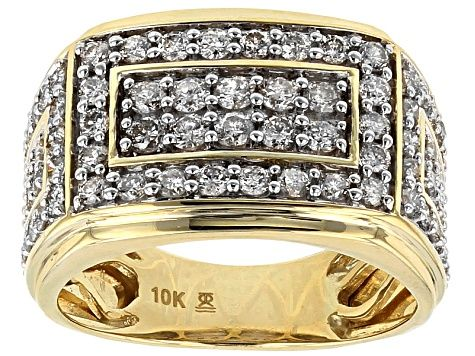 White Diamond 10k Yellow Gold Mens Ring 2 00ctw Rgd198 Yellow Gold Mens Rings Rings For Men White Diamond