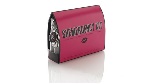 The Shemergency Kit - Contains 25 must-haves: Folding Hair Brush with Mirror, Hair Spray, Clear Elastics, Earring Backs, Hand Lotion, Nail Clipper, Emery Board, Clear Nail Polish, Nail Polish Remover, Mending Kit, Safety Pin, Double-Sided Tape, Lint Remover, Shoe Shine Towelettes, Stain Remover, Static Remover, Breath Freshener, Lip Balm, Dental Floss, Pain Reliever, Deodorant Towelettes, Tampon, Adhesive Bandages, Facial Tissues and Blotting Tissues